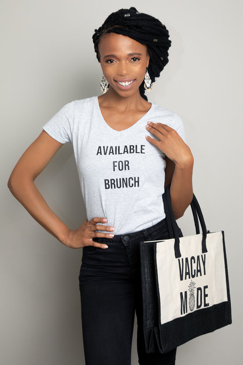 Available for Brunch Grey ladies Tee Shirt  by Love & Sparkles