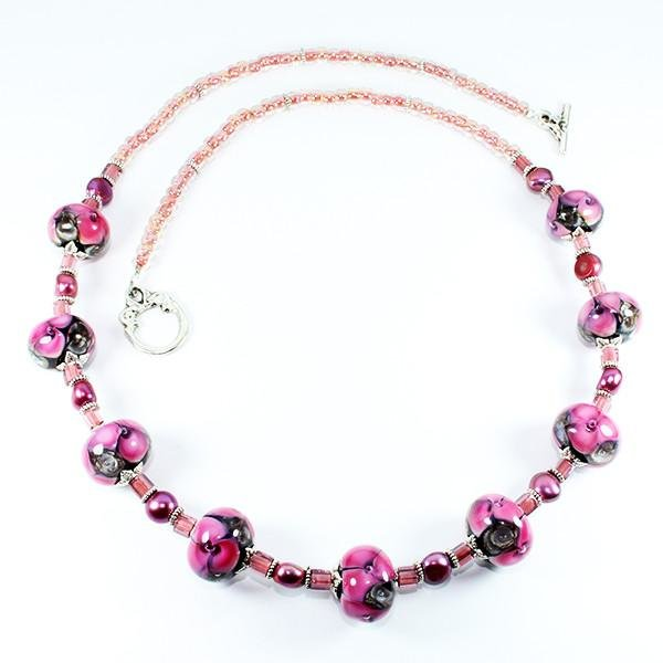 Pink Seaviolet Necklace by Dragonfire Beads Online