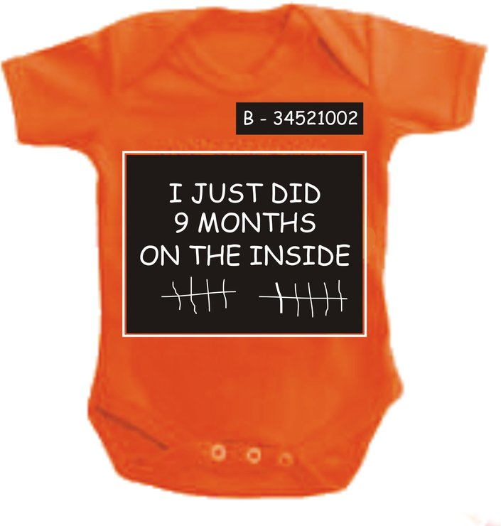 I just did 9 months on the inside Orange baby grow by Qtees Africa (Pty)Ltd