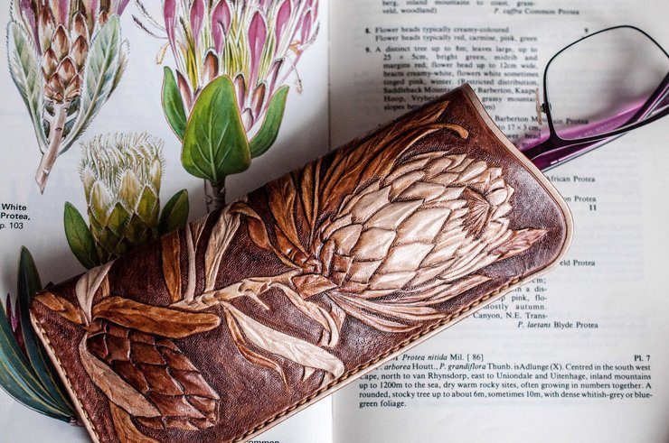 'Protea you Beauty' Leather Glasses Case by Tutti