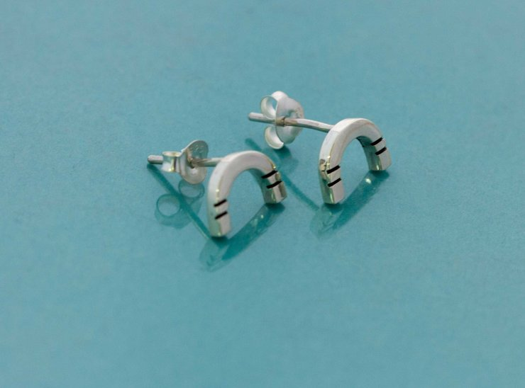 Silver Rainbow studs by Meraki Jewellery Design