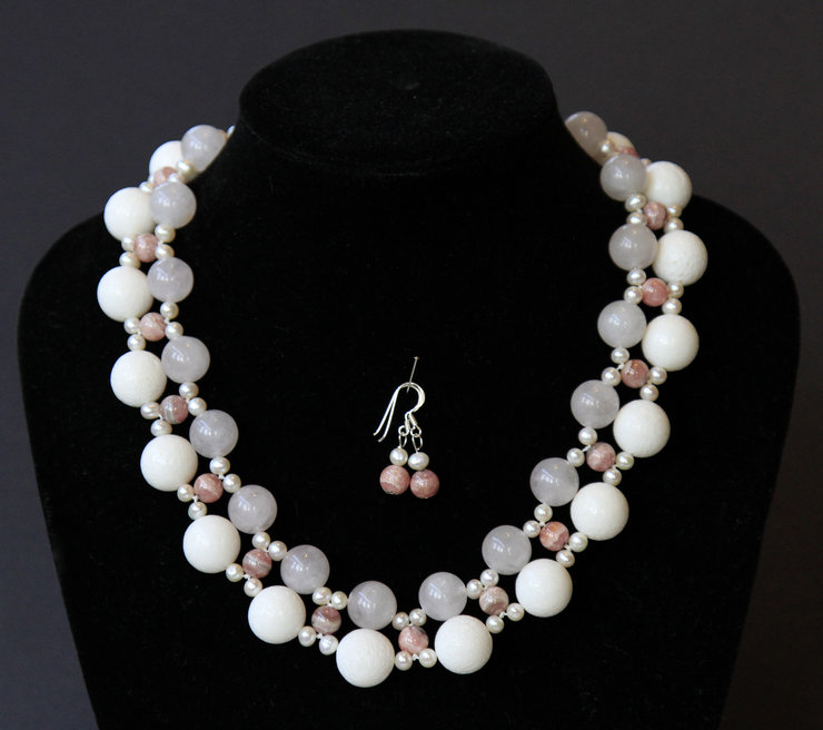 Rose Quartz & Pearl Necklace & Earrings by VictoriaPilcher.com