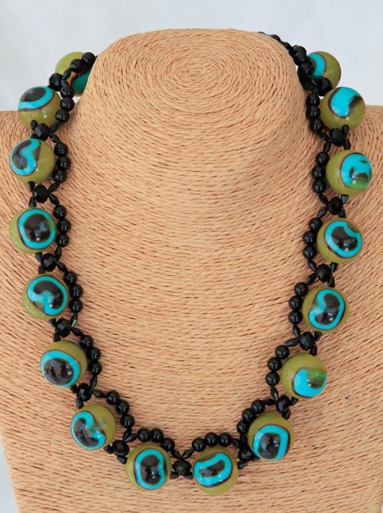 Chinese Glass & Resin Eye Bead Necklace by VictoriaPilcher.com