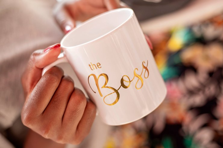 The Boss Gold slogan mug with metallic detail gift brithday  by Love & Sparkles