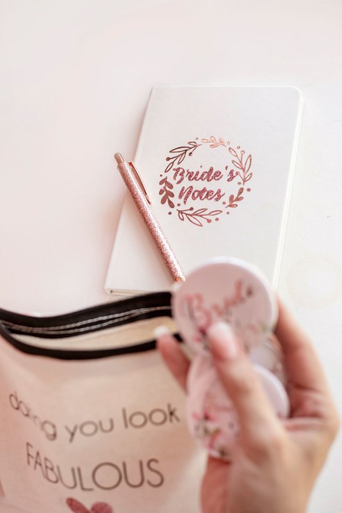 White Journal notebook with Rose Gold Brides Notes Gift Bride Bridesmaid by Love & Sparkles