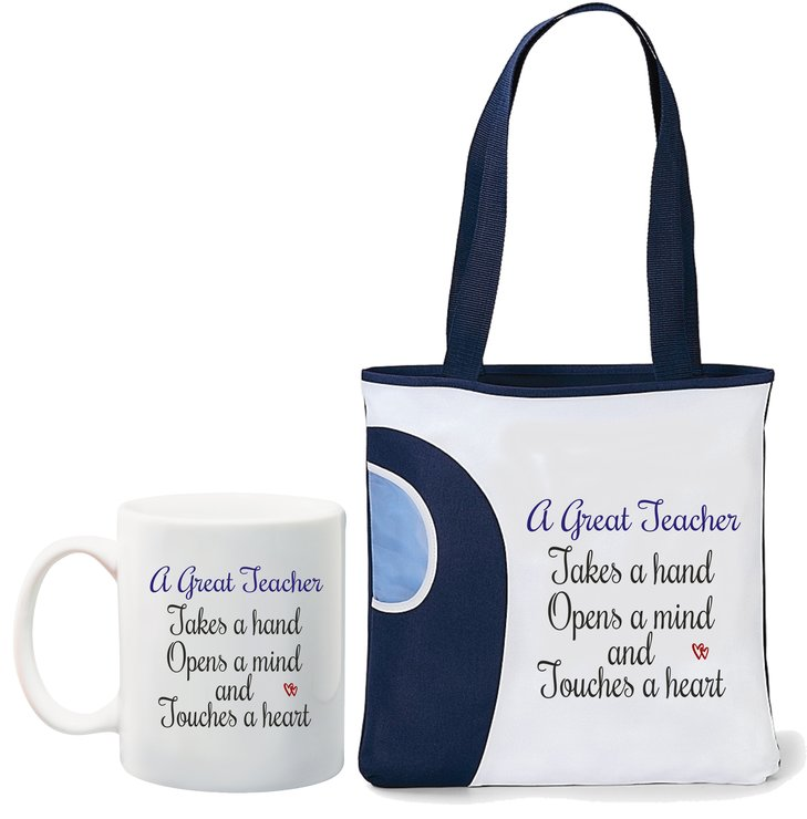 A Great Teacher takes a hand, opens a mind and touches a heart mug and navy Tote bag by Qtees Africa (Pty)Ltd