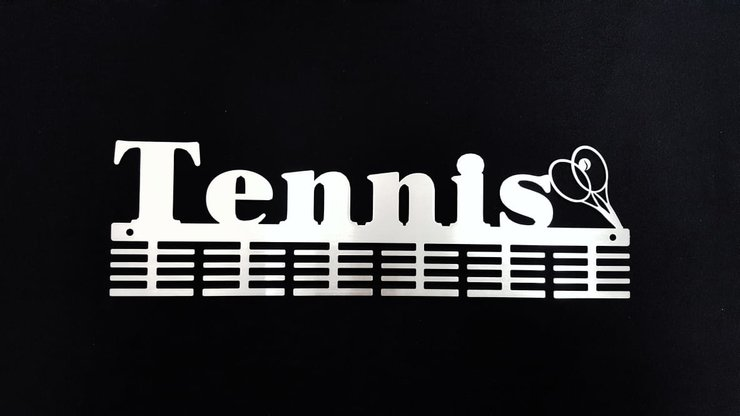 Tennis racquets 48 tier medal hanger Stainless steel brush finish by DC Designers-Medal Hanger Specialists