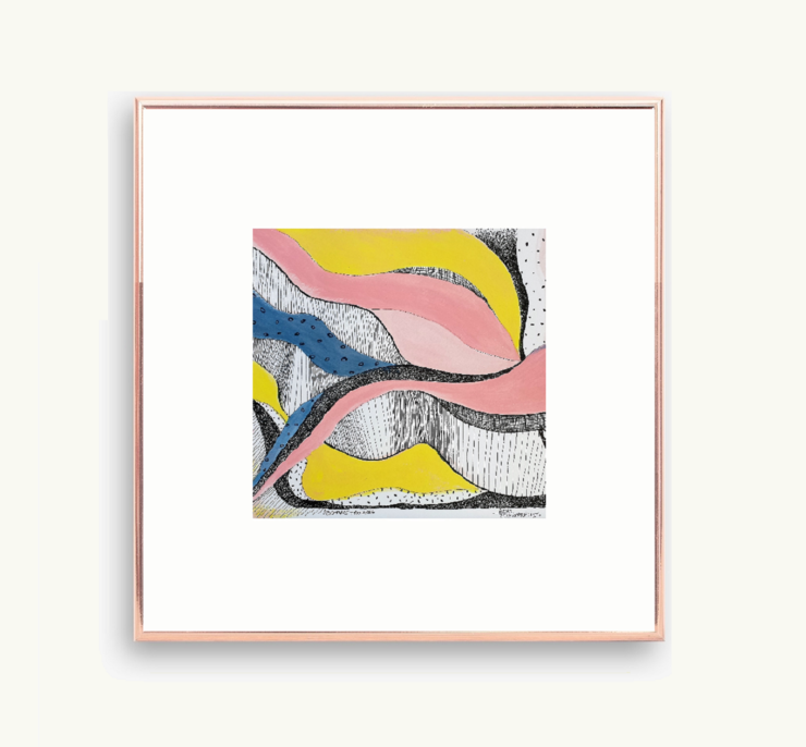 Printable Pink, Yellow and Blue Abstract Mixed Media Art in Size 8 x 8 and 10 x 10 inches (PDF). Small Square Wall Art for Nature Lovers made by Cape Town Artist, Adri Voulgarellis by WHISP by Adri