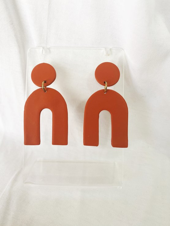 Terracotta Arch Clay Earring by Moon and Maple