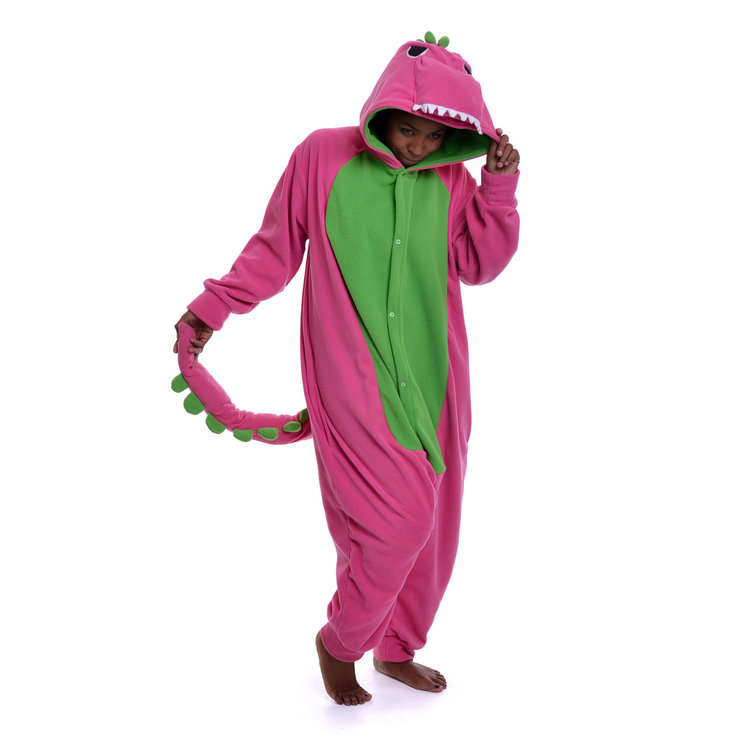 Adult Animal Onesie - Pink Dinosaur (Jumpsuit, Kigurumi) by aFREAKA Clothing