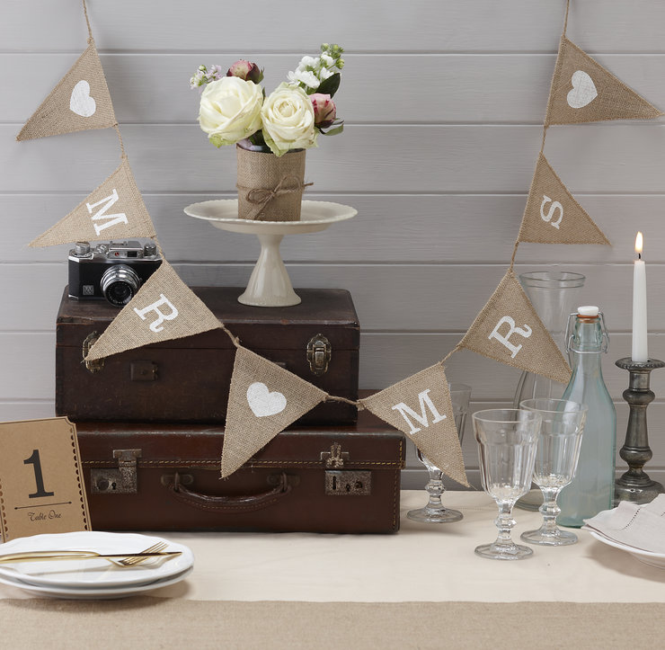 Vintage Affair - Mr & Mrs Hessian Bunting by Ginger Ray