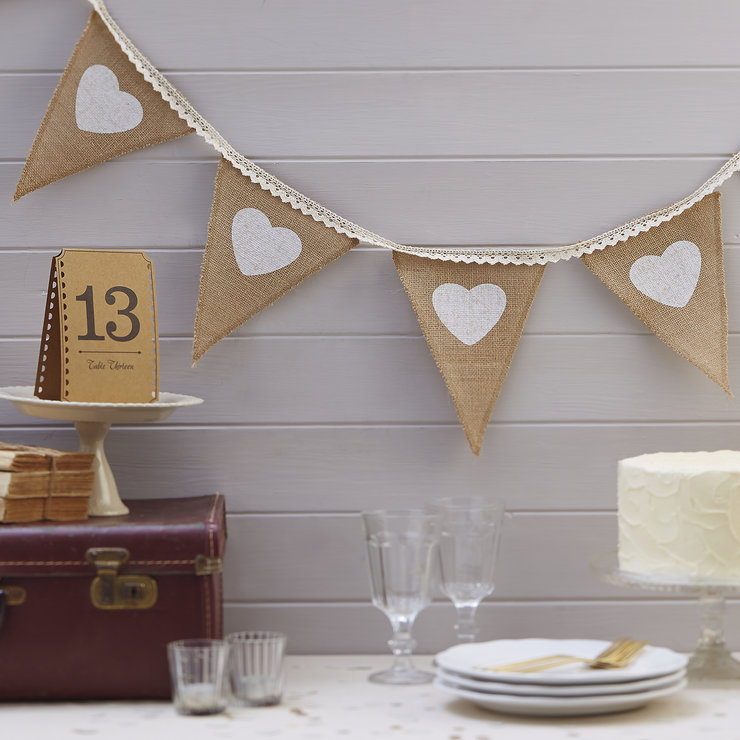 Vintage Affair - Hessian & Heart Bunting by Ginger Ray