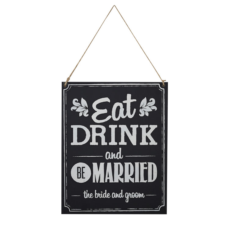 Vintage Affair - Chalkboard Wood Sign - Eat Drink Be Married by Ginger Ray