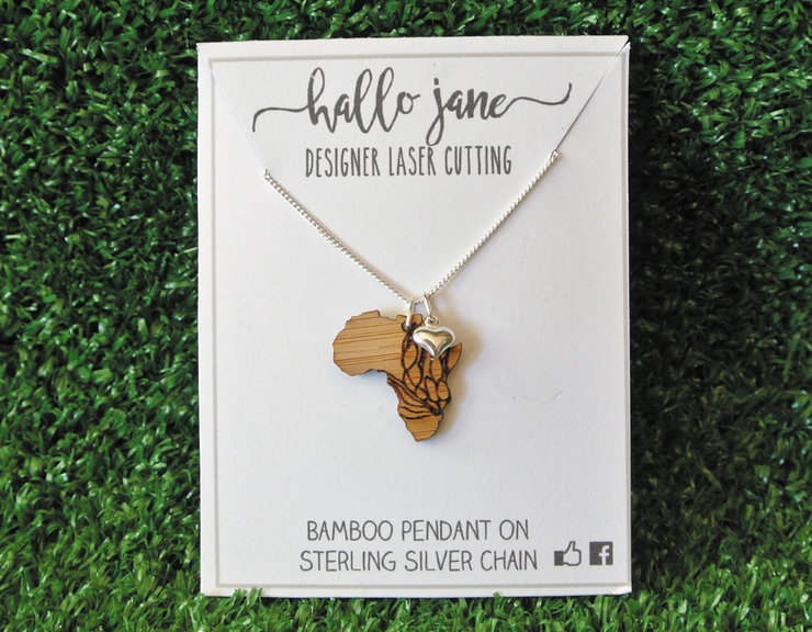 Protea Detailed Africa Bamboo Pendant on Silver Chain & Silver Heart by HALLO JANE