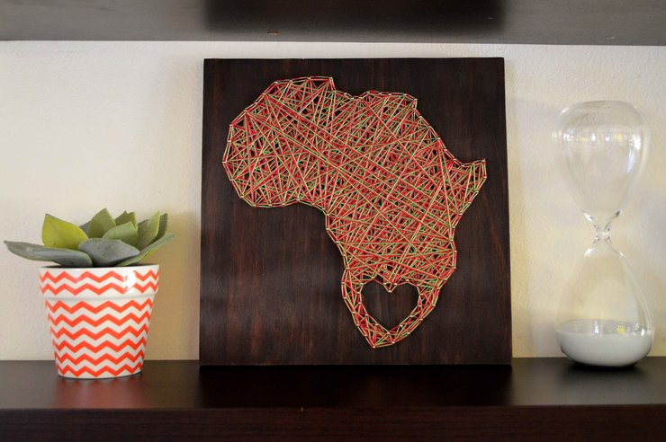 Multi-coloured Africa String Art by Heartstrings and Creative Things
