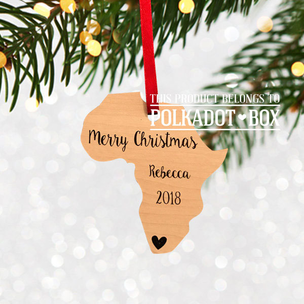 Custom Engraved Africa Christmas Ornament   by Polkadot Box