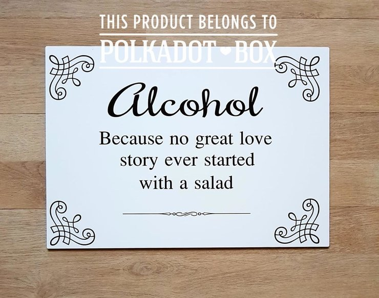 Alcohol sign for weddings, signage for reception by Polkadot Box