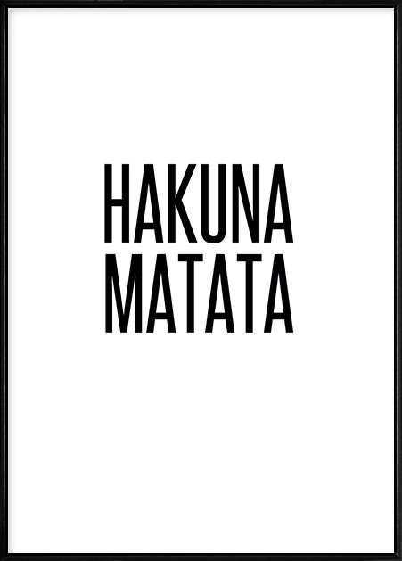 Boluo Framed Nordic Canvas Print Ready To Hang - Hakuna Mutata (426x600mm)  by Boluo