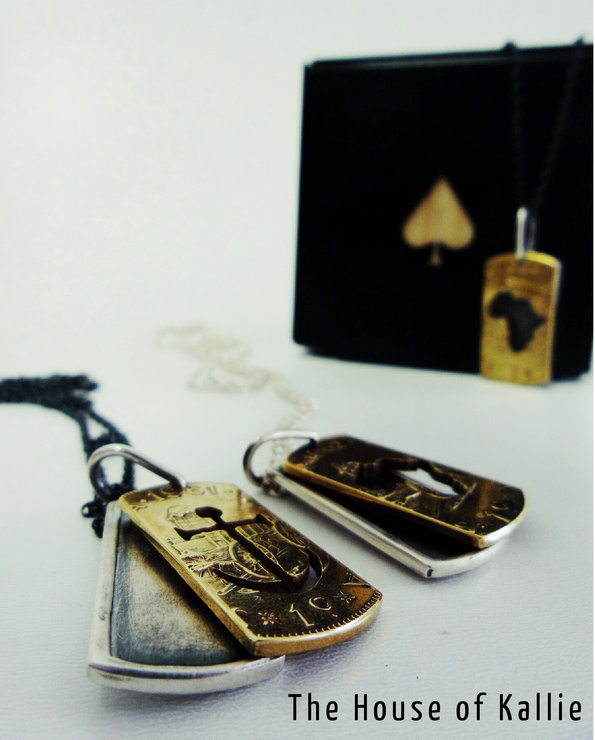 Dog Tags - Sterling Silver & Brass 1c Coin  by House of Kallie