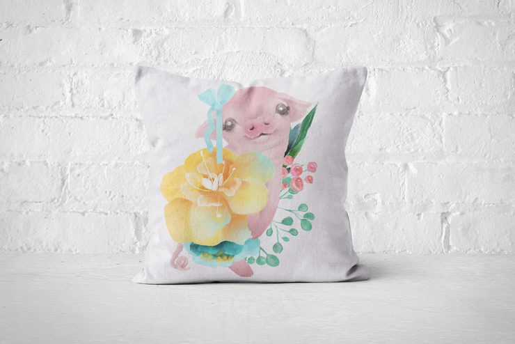 Pretty Letters Pillow Cover - Piggy 2 by But Why Not