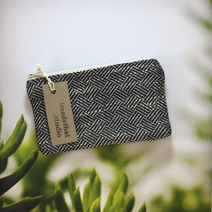 Zipper Pouch - Anthracite Soundwave  by imadethat.studio