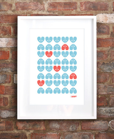 """Apples"" silkscreen print in blue and coral by i Spy"