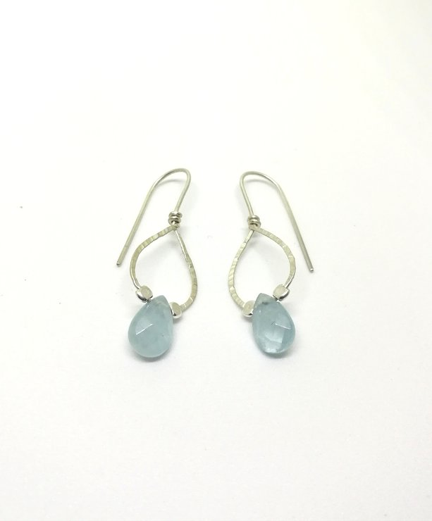 Aquamarine Single Drop Earrings by a ring to it