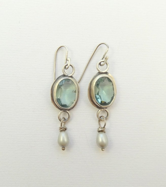 Aquamarine and Pearl and Sterling Silver earrings by Cecilia Robinson Jewellery