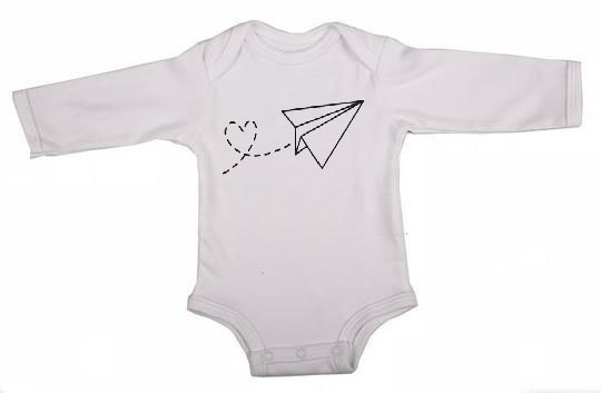 Aeroplane Love Long Sleeve Babygrow by Skoenlapper Pty Ltd