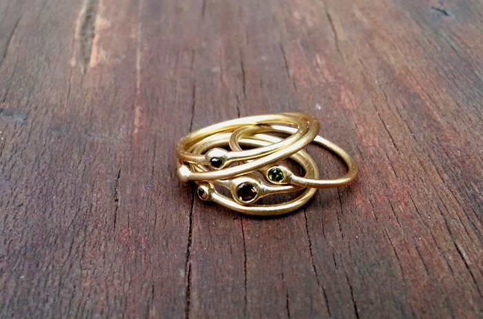 Brass Digit Ring with Stone by a ring to it