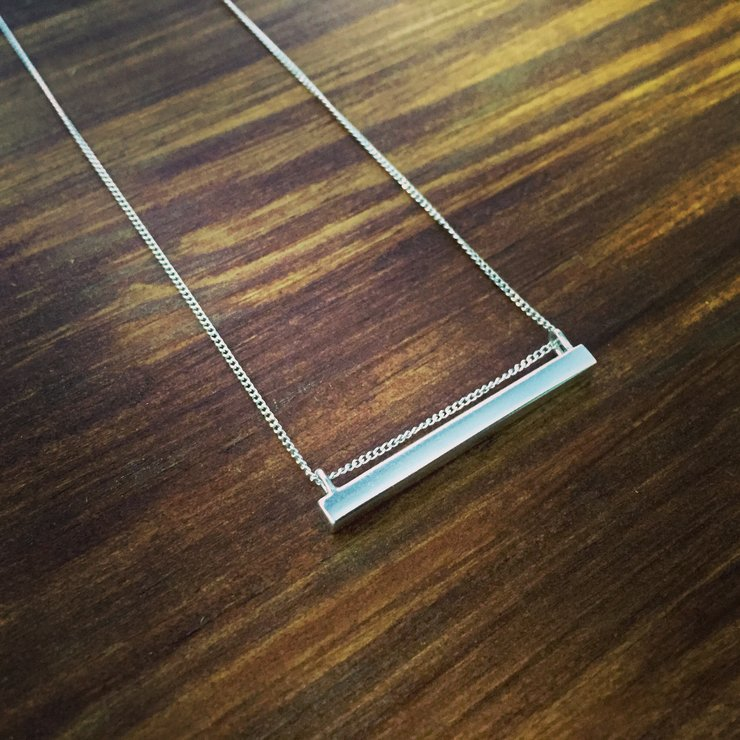 Silver Bar Necklace on 45cm Chain by a ring to it
