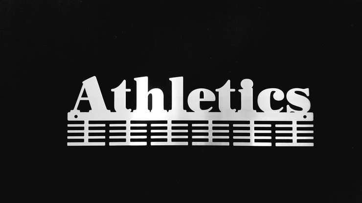 Athletics 48 tier medal hanger in Stainless steel brush finish by Medal Hanger & Home Décor Specialists - DC Designers