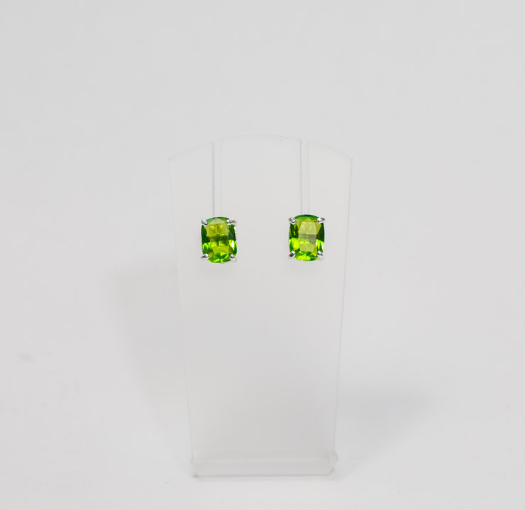 Sterling Silver & Peridot Green Cubic Zirconia Stud Earrings by Aztec Jewellery  Company