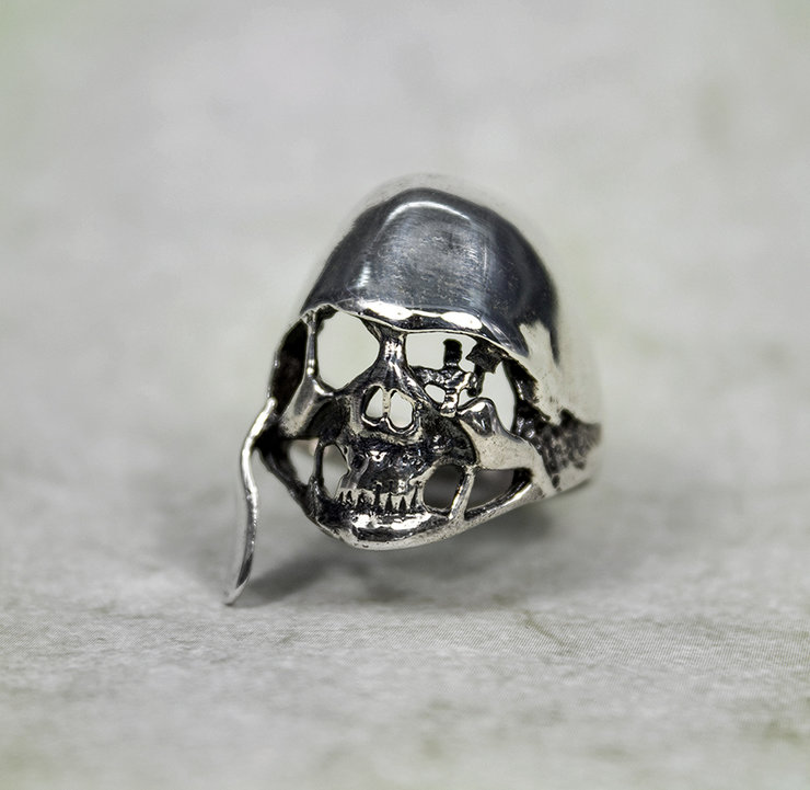 Solid Sterling Silver Biker Skull Ring by Aztec Jewellery  Company