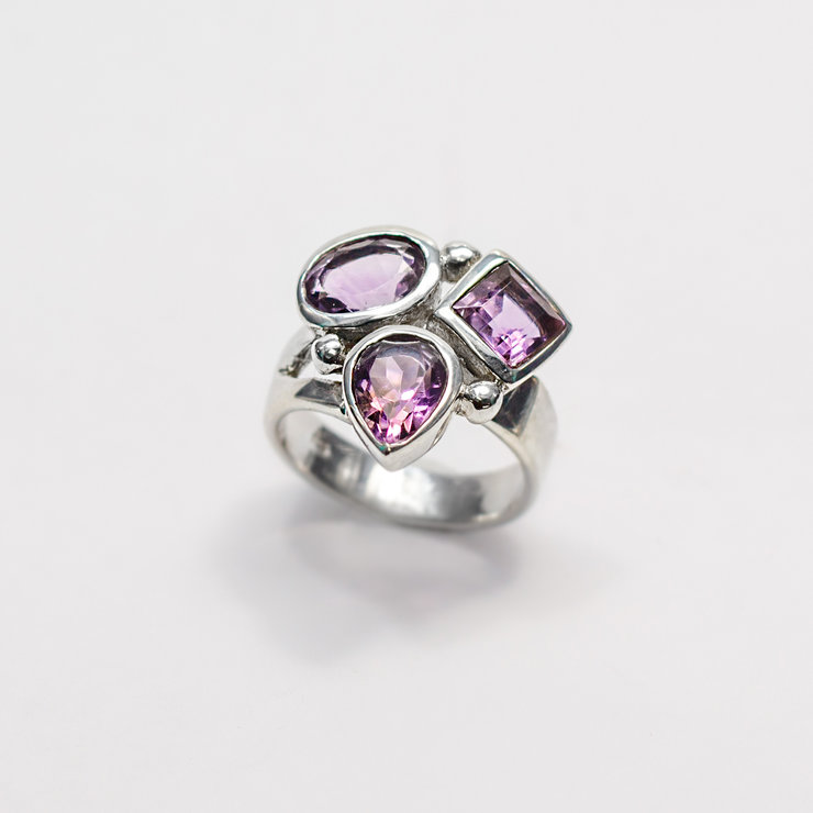 Designer Sterling Silver & Amethyst Ring by Aztec Jewellery  Company