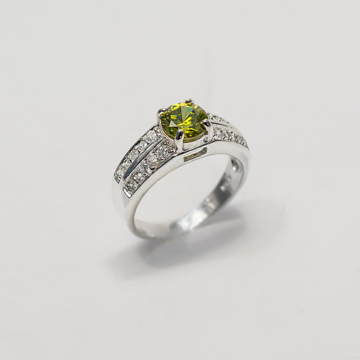 Sterling Silver Dressing Ring with Peridot-Green Cubic Zirconia by Aztec Jewellery  Company