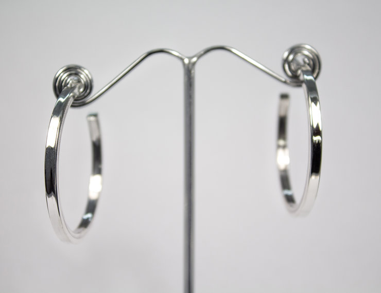 Sterling Silver Square Rolled Hoop Earrings By Aztec Jewellery Company