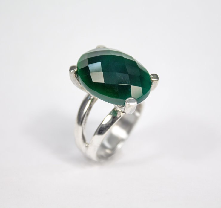 Sterling Silver and Green Chalcedony Ring by Aztec Jewellery  Company