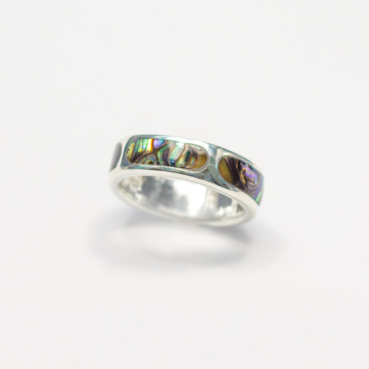 Sterling Silver Ring with Mother of Pearl Inlay by Aztec Jewellery  Company