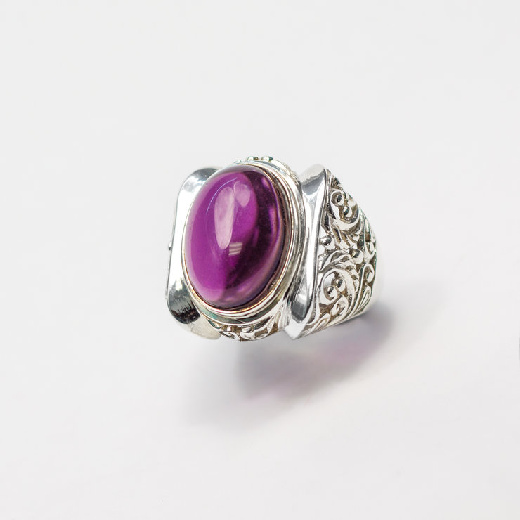 Sterling Silver & Synthetic Amethyst Shield Ring by Aztec Jewellery  Company