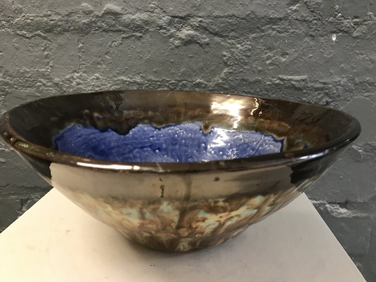 Large Ocean Blue Bronze Round Bowl by Clay Creations 56 - Handmade Pottery