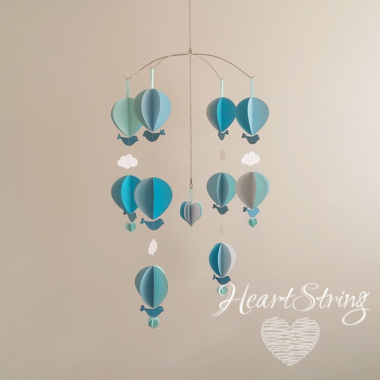 hot air balloons with birds and clouds by HeartString
