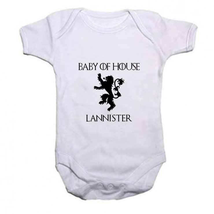 Baby of House Lannister baby grow by Qtees Africa (Pty)Ltd