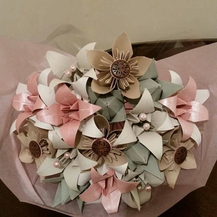 Dusty pink and cream origami bouquet hello pretty buy design dusty pink and cream origami bouquet by belle fleur mightylinksfo