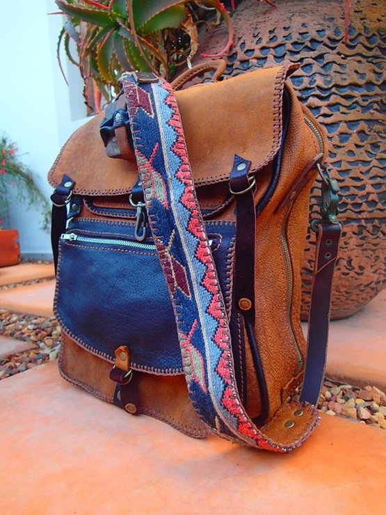 Hand stitched leather 1950's replica of microscope bag with original findings with Kilim strap by Shackletons