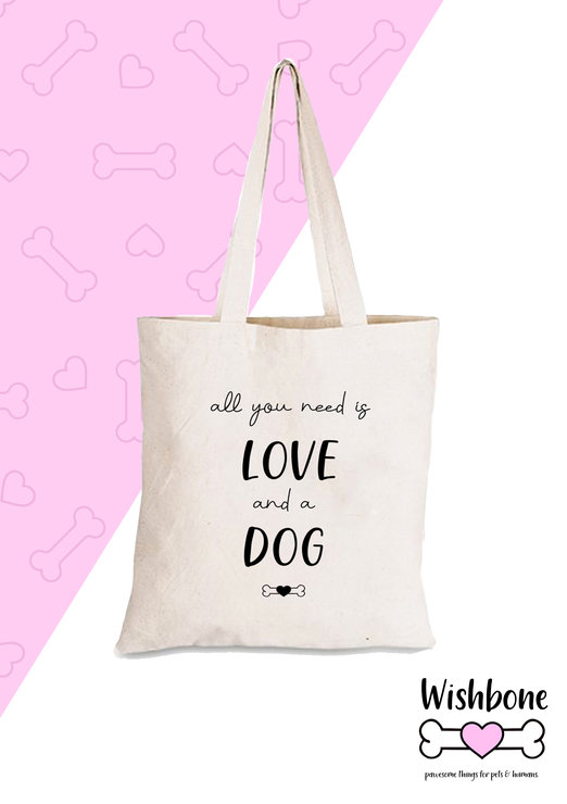 Wishbone Cotton eco tote all you need is love and a dog bag dogmom pet   by Love & Sparkles