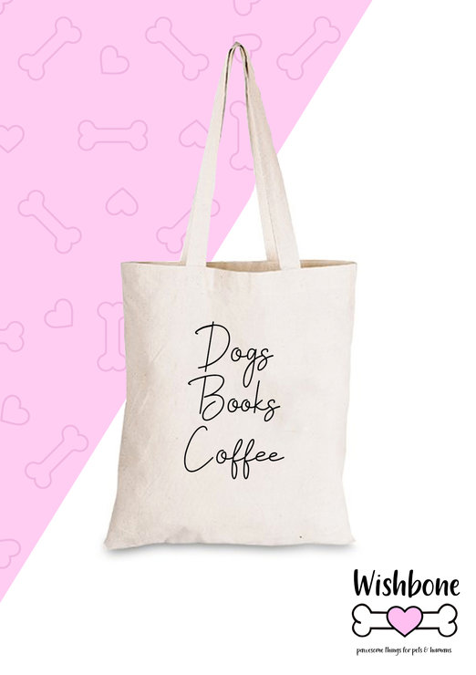 Wishbone Cotton eco tote bag with fun slogan dog dogmom pet coffee books by Love & Sparkles