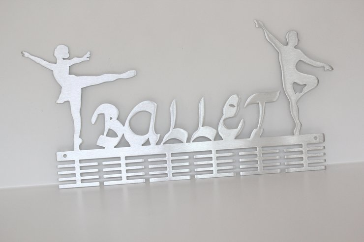 Ballerino - Ballerina 48 tier medal hanger in Stainless steel brush finish by Medal Hanger & Home Décor Specialists - DC Designers