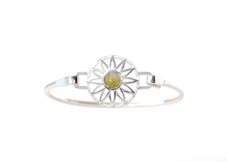 Sterling Silver BradDaShey bangle with interchangeable face piece August) by Havilah Designer Jewellers