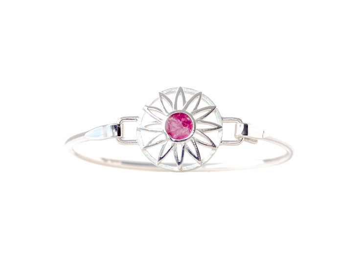 Sterling Silver BradDaShey bangle with interchangeable face piece July by Havilah Designer Jewellers